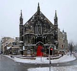 Bedlam Theatre, Bristo Place, photofraphed from the top deck of a bus in a snowstorm on Christmas Eve, 2009
