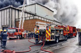 Fire Engines attending the fire at Bruce Peebles' works  -  12 April 1999