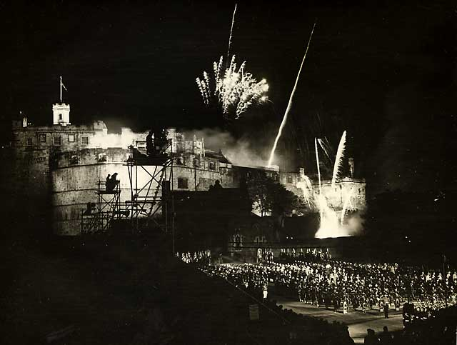 Fireworks at the end of the Edinburgh Tattoo, performed on the Esplanade at