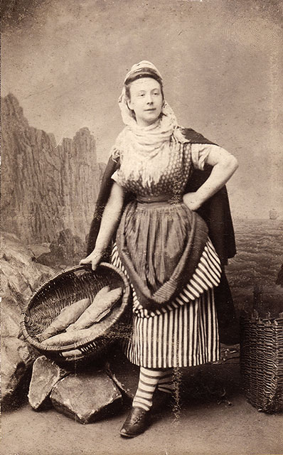 Moir & Halkett Cabinet Print  -  Jeremy Nayler's great grandmother, dressed as a Newhaven Fisherwoman  -  Photo taken around 1889 to 1893.