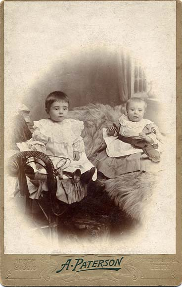 A cabinet print from the studio of A Paterson, Leith  -  Two young children