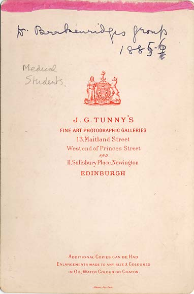 J G Tunny  - The back of a  Cabinet Print  -  Medical Students
