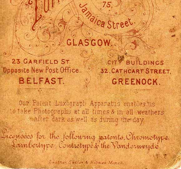 Detail from the back of a cabinet print from the studios of Turnbull & Sons, Glasgow, Belfast and Greenock