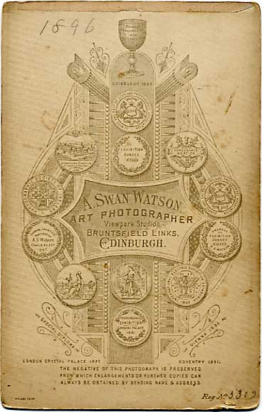 The back of a cabinet print by A Swan Watson  -  No 3302