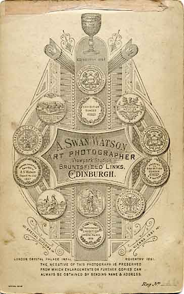 The back of a cabinet print by A Swan Watson  -  No 6266