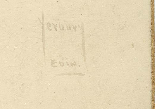 Enlargement of the name on a platinotype print by Yerbury