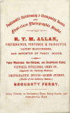 Carte de visite by R T M Allan, Photographer and Hairdresser, Broughty Ferry, Angus, Scotland.
