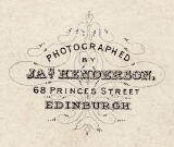 Detail from the back of a carte de visite by James Henderson whose photographic studio was at 68 Princes Street from 1856 until 1867