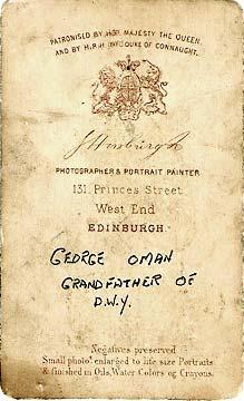 The back of a carte de visite from the studio of John Horsburgh  -  The Edinburgh and Hawick photographer, George Oman