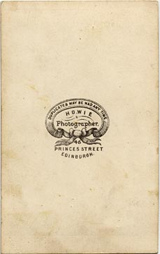 The back of a carte de visite by Howie of 45 Princes Street
