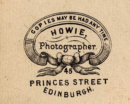 Detail from the back of a carte de visite by Howie of 45 Princes Street.  Which member of the Howie family was it who produced this carte de visite