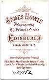 James Howie  -  Carte de Visite  -  Back of card