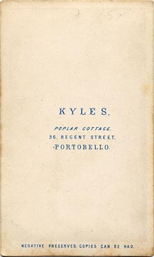 The back of a carte de visite  -  Kyles  -  36 Regent Street  -  Lady and gate
