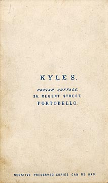 The back of a carte de visite  -  Kyles  -  36 Regent Street  -  Lady, book and chair
