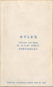 The back of a carte de visite  -  Kyles  -  36 Regent Street  -  Man and chair