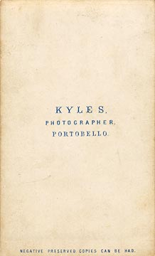 The back of a carte de visite  -  Kyles  -  No address given  -  Man with top hat
