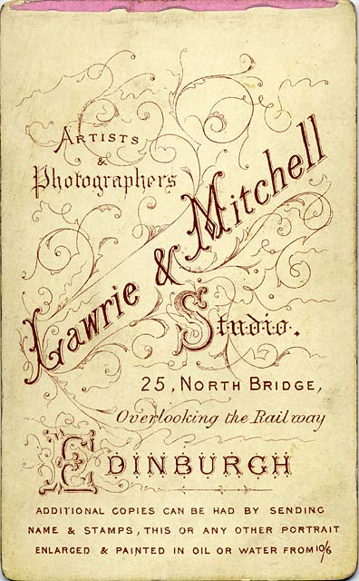 Enlargement of the back of a carte de visite by Lawrie & Mitchell