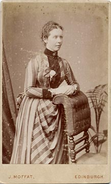 John Moffat  -  Carte de visite  -  1886 to around 1890  -  Lady and chair (before partial restoration of the photo)