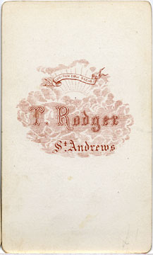 Carte de Visite of a bearded man in an oval from the St Andrews studio of Thomas Rodger (back)