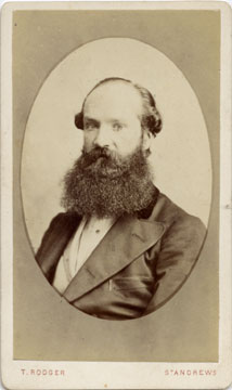 Carte de Visite of a bearded man in an oval, from the St Andrews studio of T Rodger (front)