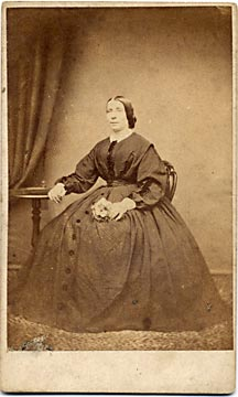 A carte de visite by the Edinburgh professional photographer John Ross  -  lady with large dress