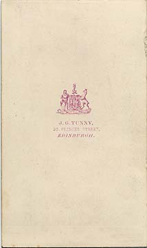 The Back Of A Carte De Visiet By James Good Tunny