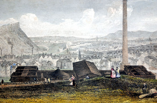 Engraving - View looking south from Calton Hill, published 1847