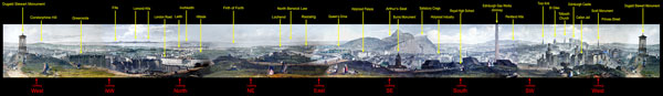 360 degree panormaic view from Calton Hill  -  created from a book of engravings, published 1847