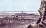 Engraving from Nelson's Pictorial Guide Books  -  Calton Hill from Salisbury Crags