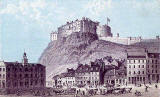 Engraving from Nelson's Pictorial Guide Books  -  Edinburgh Castle from the Grassmarket