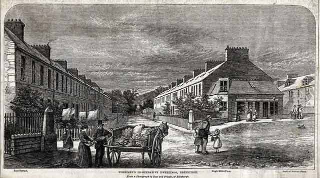 Reid Terrace, The Colonies, Stockbridge, Edinburgh  -  An engraving based on a photograph by Ross & Pringle