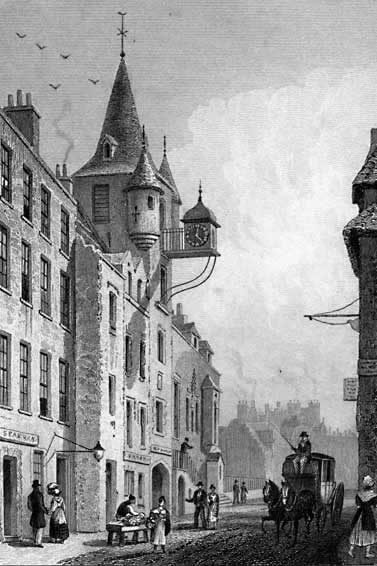 Engraving from Modern Athens  -  The Canongate Tolbooth