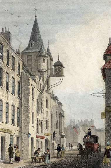 Engraving from 'Modern Athens'  -  hand-coloured  -  Canongate Tolbooth