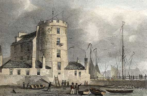 Engraving from 'Modern Athens'  -  hand-coloured  -  Signal Tower at Leith Harbour