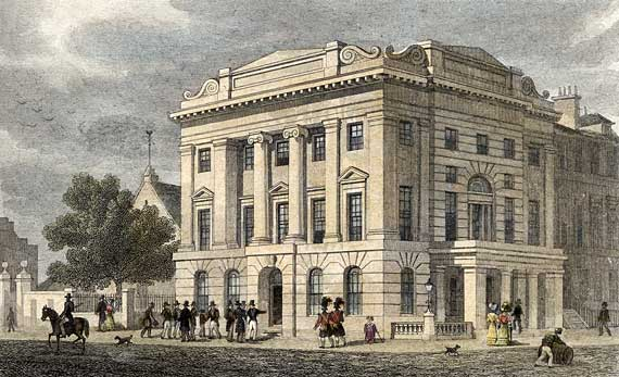 Engraving from 'Modern Athens'  -  hand-coloured  -  Leith Town Hall