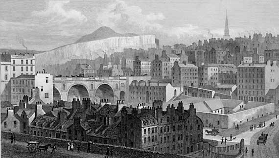 Engraving in'Modern Athens'  -  Edinburgh Old Town and Waverley Bridge from Princes Street