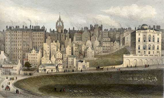 Engraving from 'Modern Athens'  -  hand-coloured  -  Edinburgh Old Town and the Bank of Scotland from Princes Street