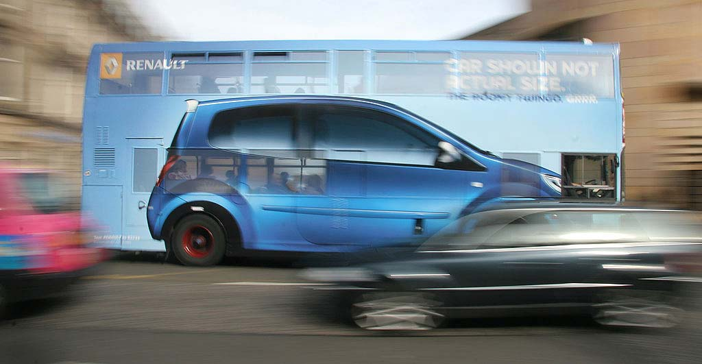 Photograph of bus at Museum  -  panned for one sixth second