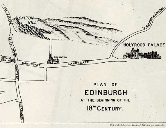 Edinburgh in the early 1700s  -  east section of map