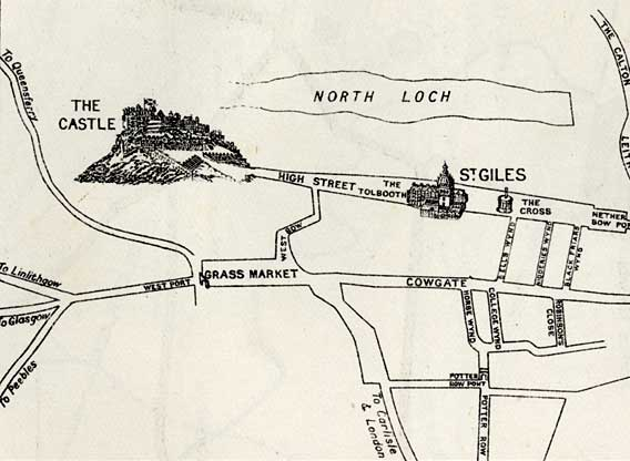 Edinburgh in the early 1700s  - west section of the map