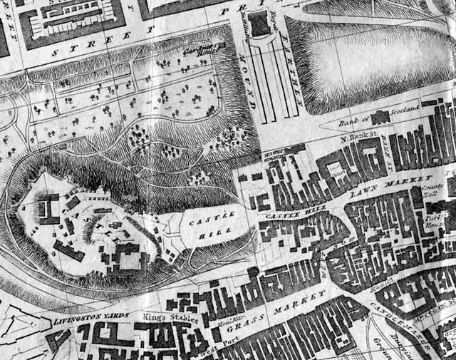 Edinburgh map, 1830 -  zoom-in to the area around Edinburgh Castle