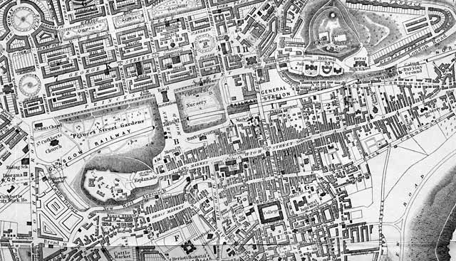 1848 map  -  Edinburgh Castle to Calton Hill