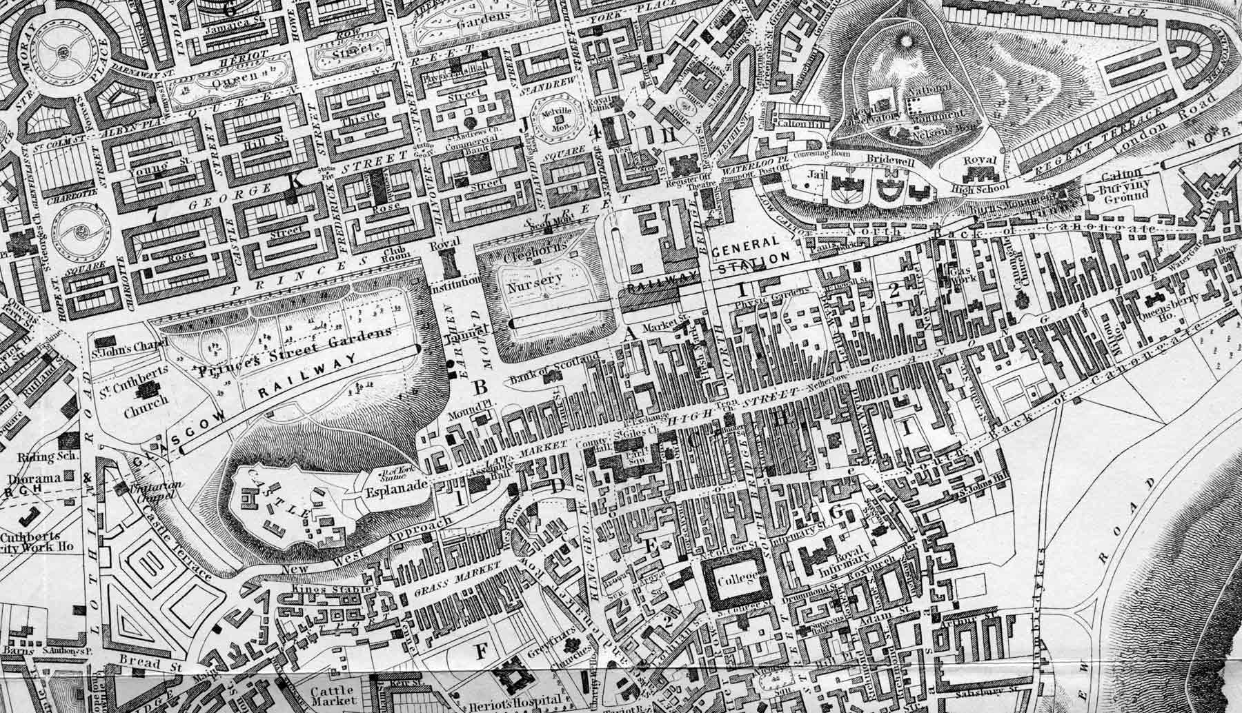 1840 map  -  Edinburgh Castle to Calton Hill
