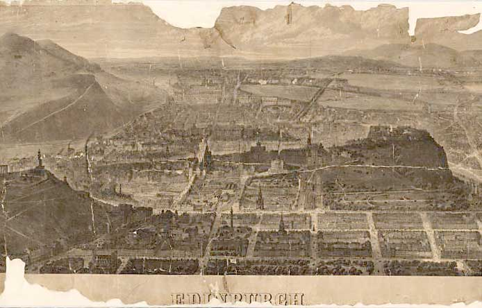 Looking down on Edinburgh from the north  -  An 1868 engraving