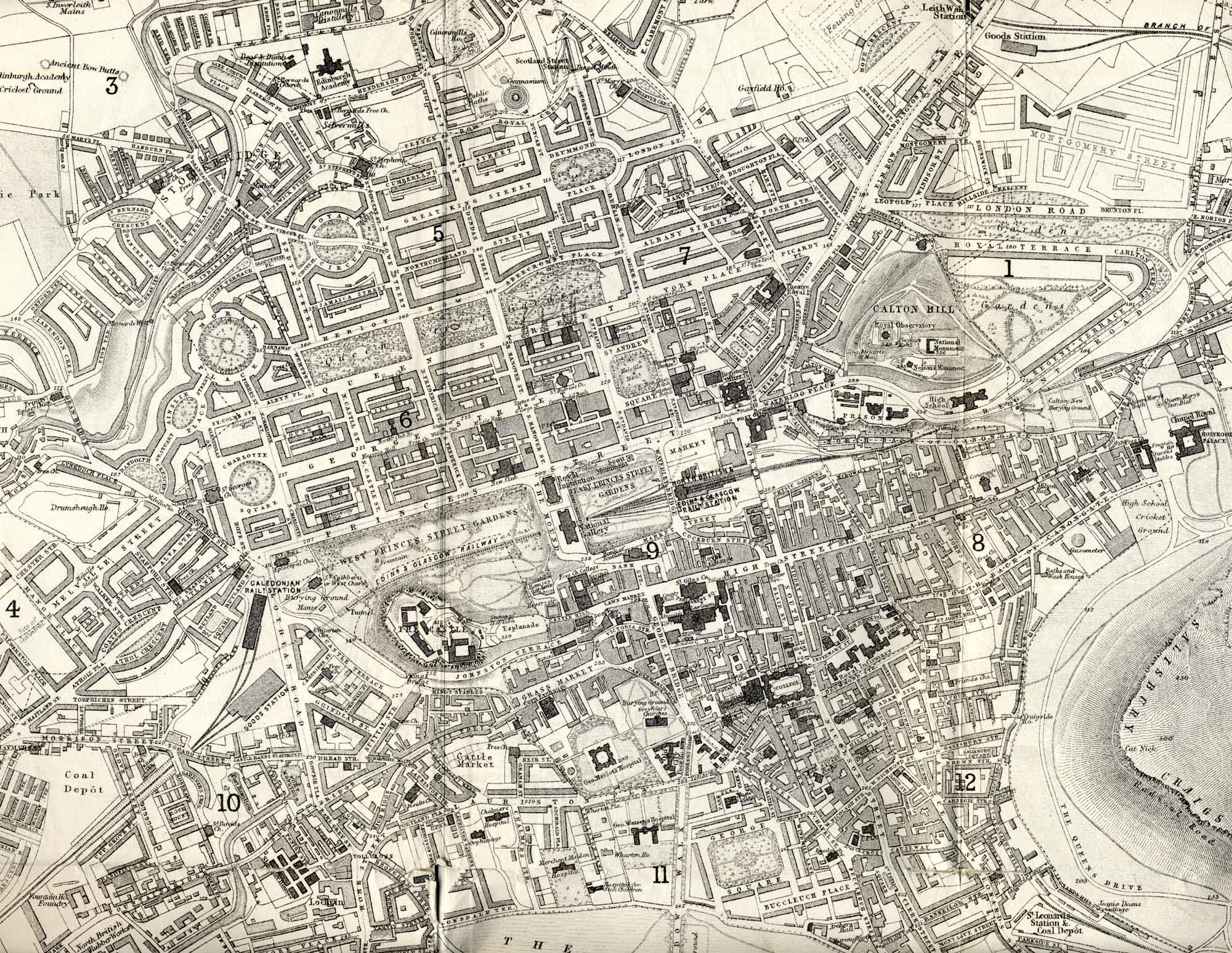 Edinburgh map 1870 enlarged