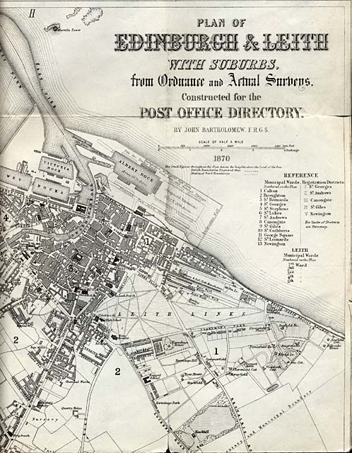 Map of Edinburgh and Leith. 1870  -  North-eastEdinburgh Section