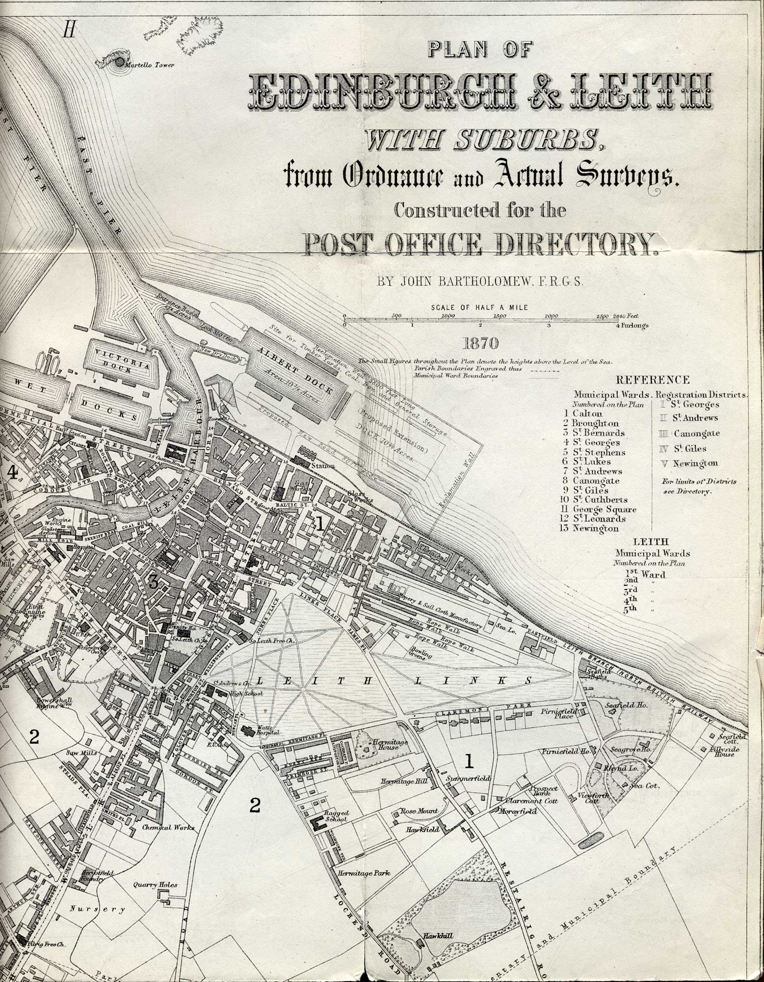 Map of Edinburgh and Leith. 1870  - North-east Edinburgh Section