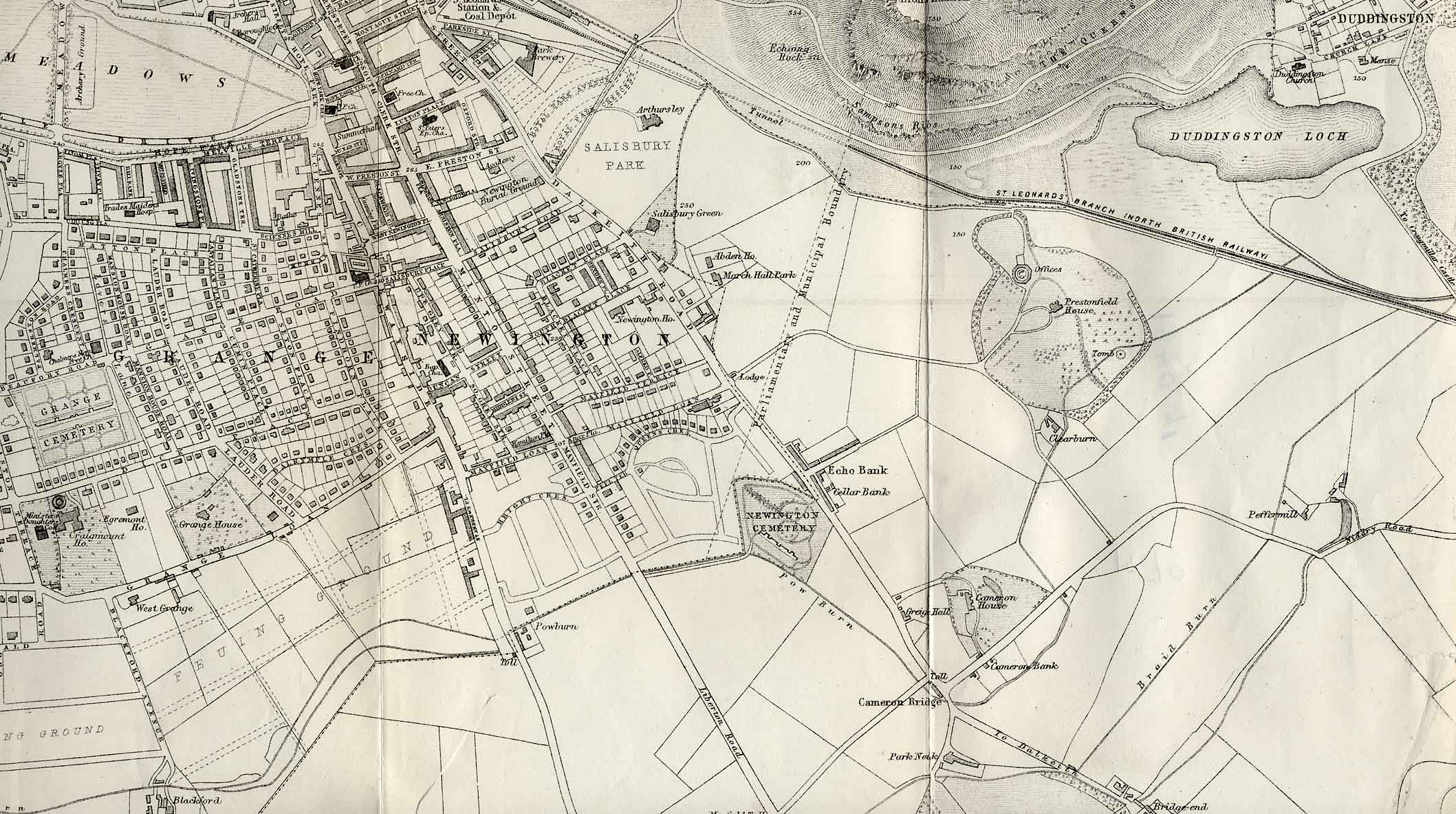 Map of Edinburgh and Leith. 1870  -  South-east Edinburgh Section