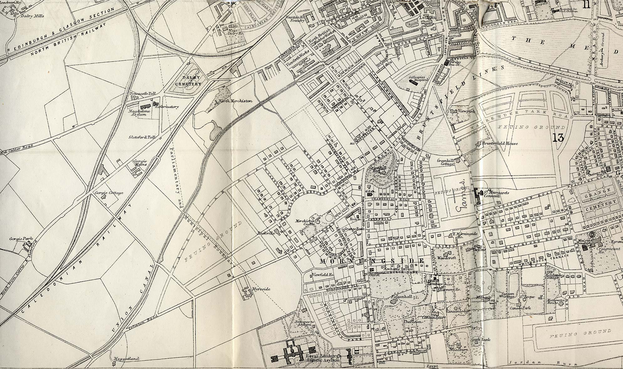 Map of Edinburgh and Leith. 1870  -  South-west Edinburgh Section