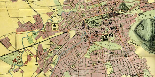 Pulsford's Map of Edinburgh  -  Showing Railway and Tramway Routes from Central Edinburgh to the1908 Exhibition